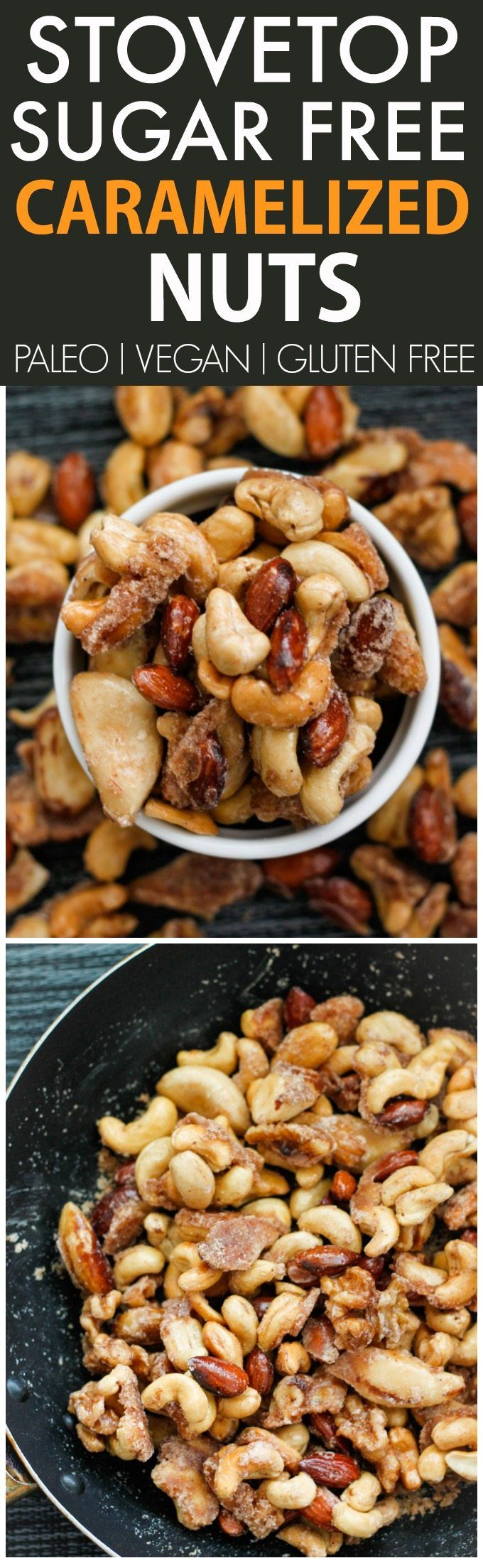 Healthy SUGAR FREE Caramelized Nuts- No oven needed (made stovetop!) and 100% sugar free- A guilt free snack, gift or dessert! {vegan, gluten free, paleo recipe}- thebigmansworld.com
