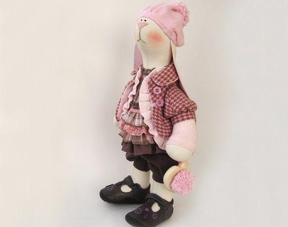 "Artist Cloth Bunny Beata Vintage Styled Pink beige OOAK doll 19"" 48cm Stuffed doll Creamy Soft Toy Fabric Rabbit Home Decor heart boho Pink"