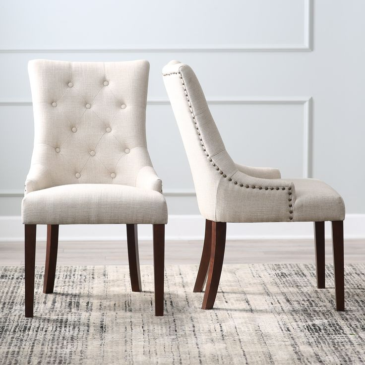 Belham living thomas tufted tweed dining chairs set of 2 for Tufted dining chairs for sale
