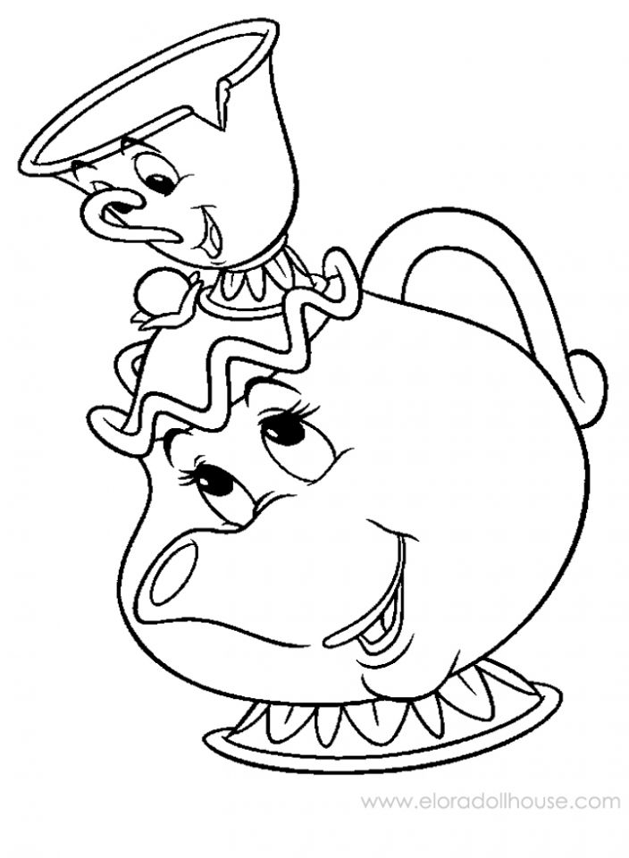 chip mrs teapot disney beauty and the beast coloring pages - Princess Tea Party Coloring Pages