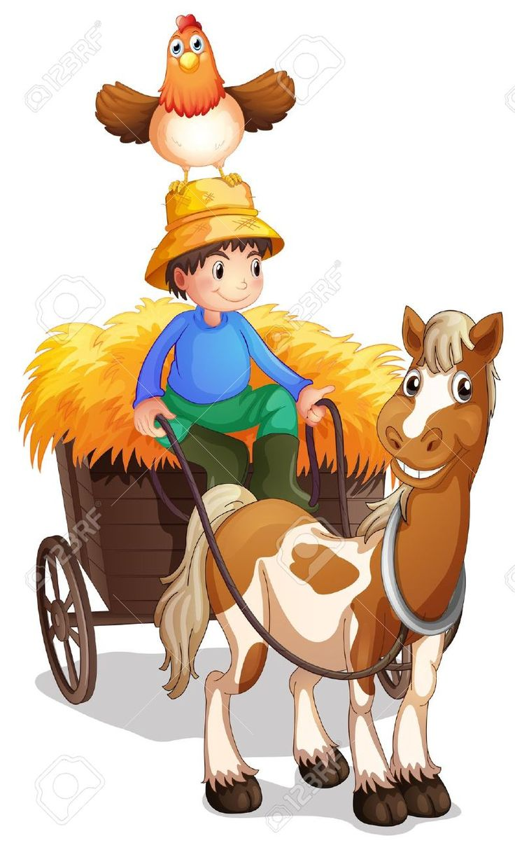 Illustration Of A Farmer Riding A Cart With A Chicken Above His.. Royalty Free Cliparts, Vectors, And Stock Illustration. Image 18324029.