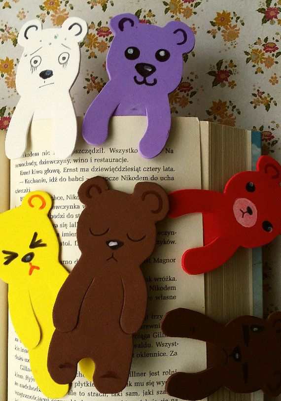 foam bookmarks bears colourful