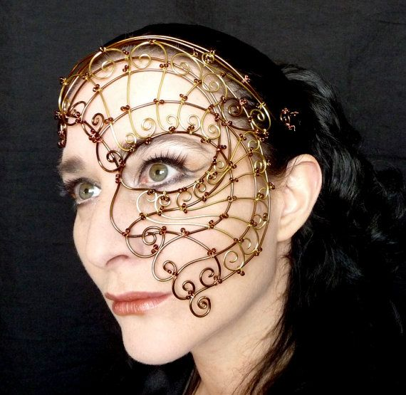 Womens bronze and brass wire steampunk half mask,Costume, accessories, handmade