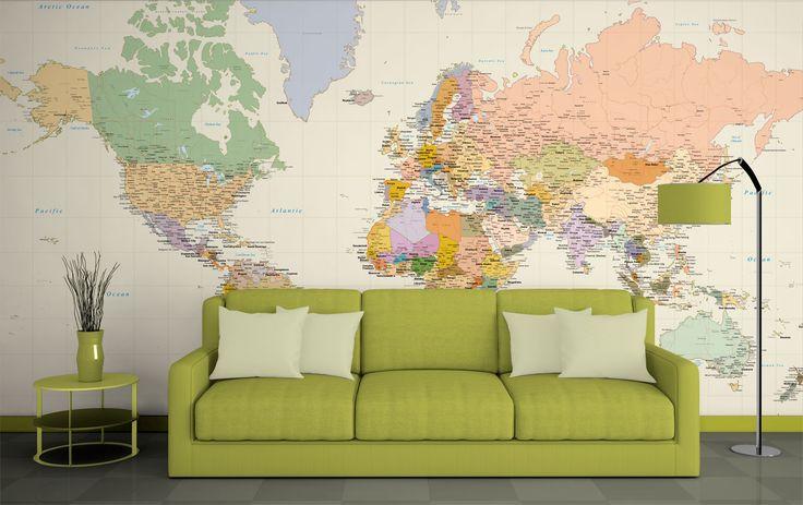 Παγκόσμιος χάρτης Κ. 301 σε πόστερ, αυτοκόλλητο, ταπετσαρία τοίχου και Foam Board