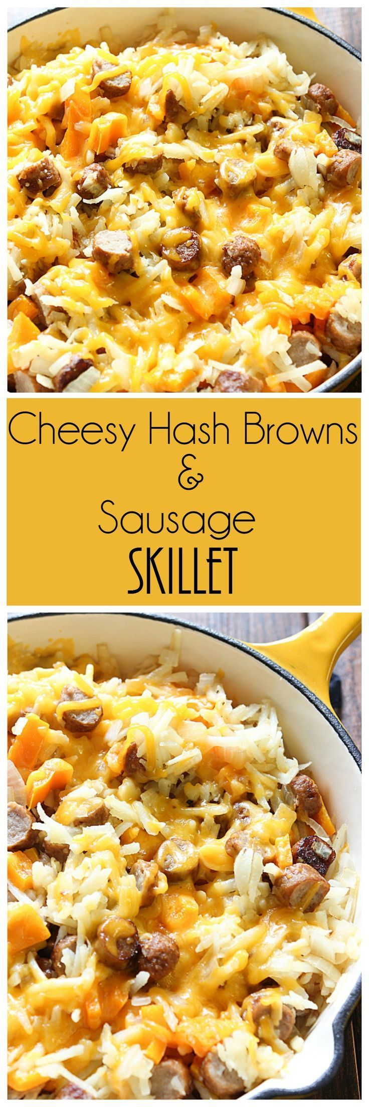 Wake your family up with the delicious aroma of this Cheesy Hash Browns and Sausage Skillet. It's an easy breakfast meal that takes no time all to make.