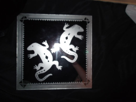 two gecko lizards  on a mirror with southwestern style by AbbyDjan, $15.00