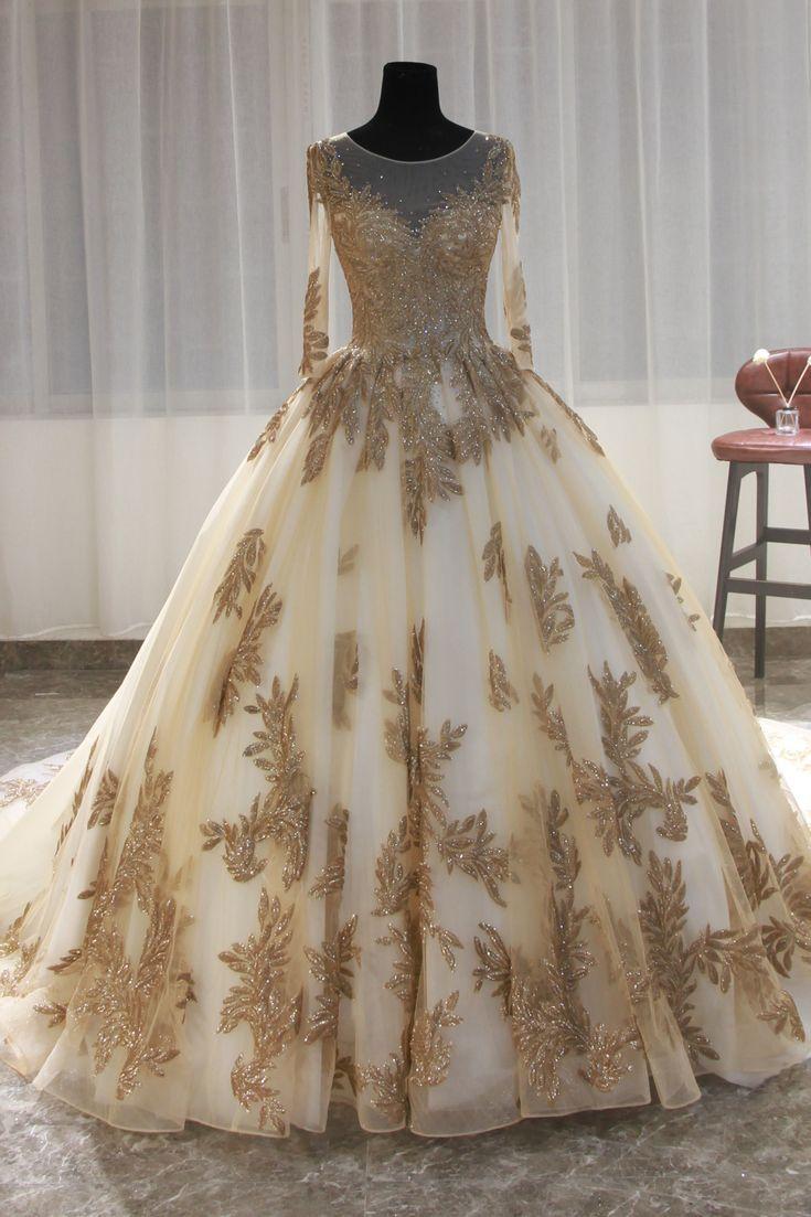 Luweiya plus size wedding dresses patterns gold lace sequined ...