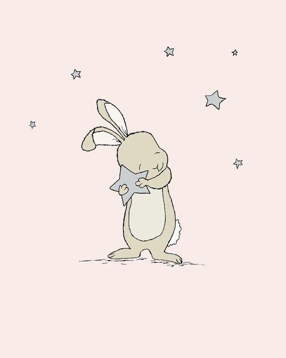 Conejito infantil arte: Este conejito dulce atrapado una estrella preciosa y está listo para pedir un deseo. Puede personalizar esta impresión a cualquier color que usted elija, ya sea de la carta de color o una imagen o enlace, házmelo saber y puedo crear una lista personalizada para usted! * Estar seguro seleccionar tu talla en el desplegable de la caja de arriba. Aquí en dulce melodía diseños nos encanta crear arte lindo para los más pequeños las habitaciones. Creemos en fomentar la i...