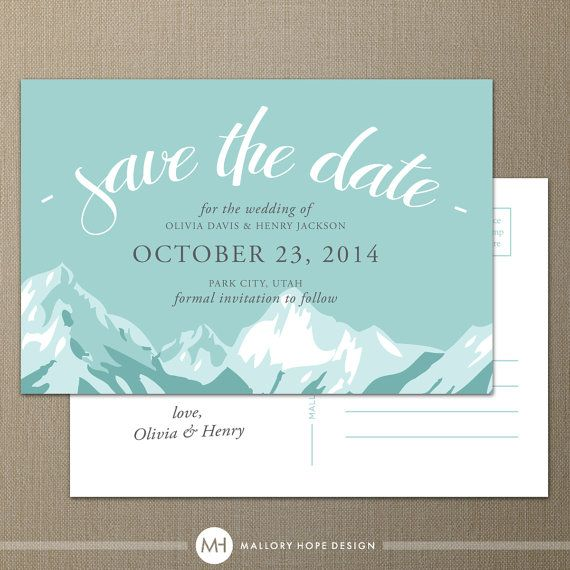 Mountain Range Personalized Wedding Save the Date Postcard - CUSTOMIZE Colors and Content