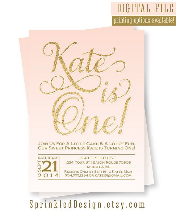 First Birthday Invitation - 1st Bday Girl Blush Pink Gold Peach Coral Pastel CUSTOMIZABLE COLORS - Modern Digital Printable Party Invite by SprinkledDesign
