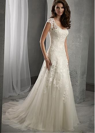 Elégant Tulle Scoop décolleté naturel tour de taille A-ligne de robe de mariée avec Appliques perles dentelle