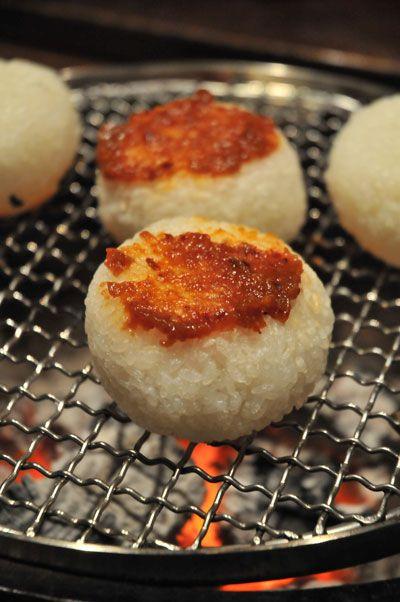Japanese Food Yaki Onigiri, Grilled Rice Ball with Spicy Miso