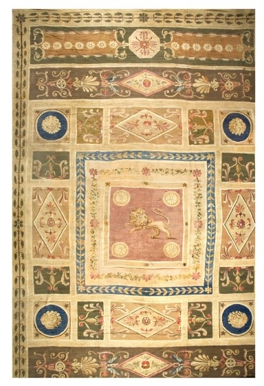 """Aubusson Carpet  France, Aubusson Workshops  Size: 15'6"""" x 25'6""""  Period: Directoire, 1797-1804  Structure:  warp:    wool, tan to light brown, natural, Z-2-S, 8/in.  weft:     wool, Z-2-S, 24/in  technique: slit tapestry"""