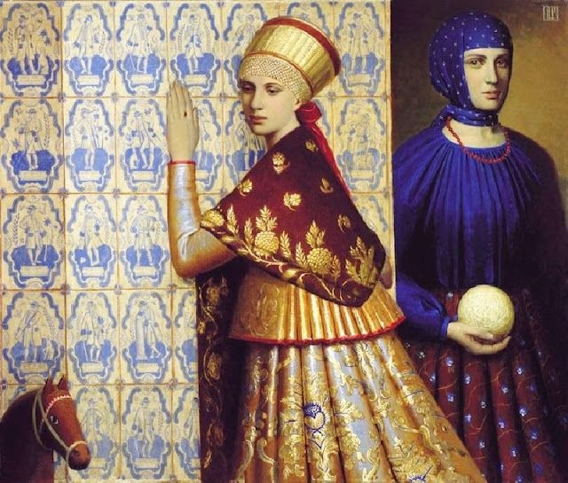 'Friends' (2004) by Moscow-based Russian painter Andrey Remnev (b.1962). Oil on canvas, 80 x 100 cm. via Maher Art Gallery