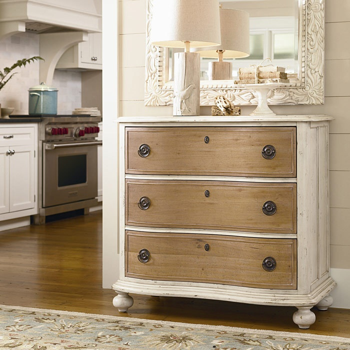 by painting the  chest of drawers and leaving draw fronts natural, gives a lovely contrast