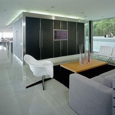white polished concrete floors