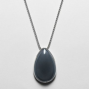 Skagen. Blue Sea Glass Silver-Tone Pendant Necklace