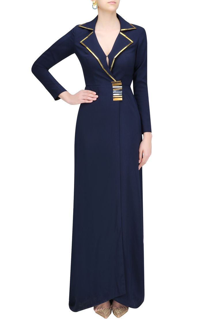 Featuring a navy color overlapped blazer gown in imported blend with metal chip details on V neckline and centre waist.