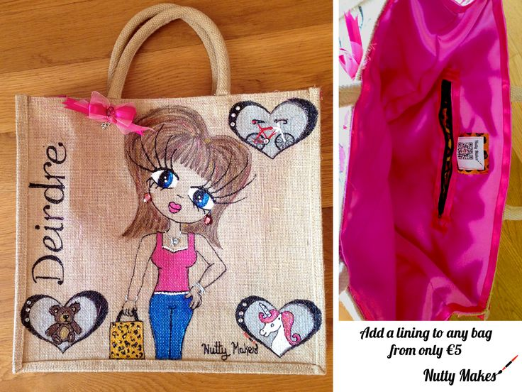 Deirdre. A very special lined personalised jute tote bag with a bike, teddy and unicorn. Lined with pink satin and a leopard print zipped pocket. Check out http://www.facebook.com/nuttymakes for more information.