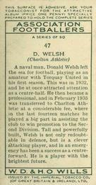 1935-36 W.D. & H.O. Wills Association Footballers #47 Don Welsh  Back