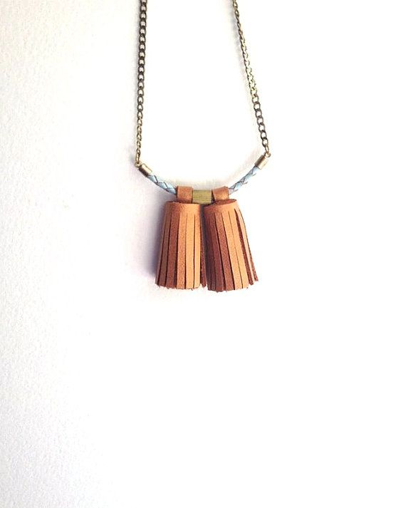 Tassel Necklace - Leather Necklace - Minimalist Necklace - Long Necklace - Leather & Brass - Camel Necklace - Statement Necklace - Nautical
