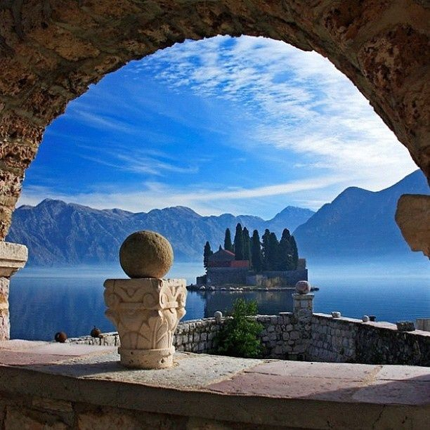 Kind of looks like a scene from a storybook fairytale time.. Kotor Bay, Montenegro. It's so beautiful there
