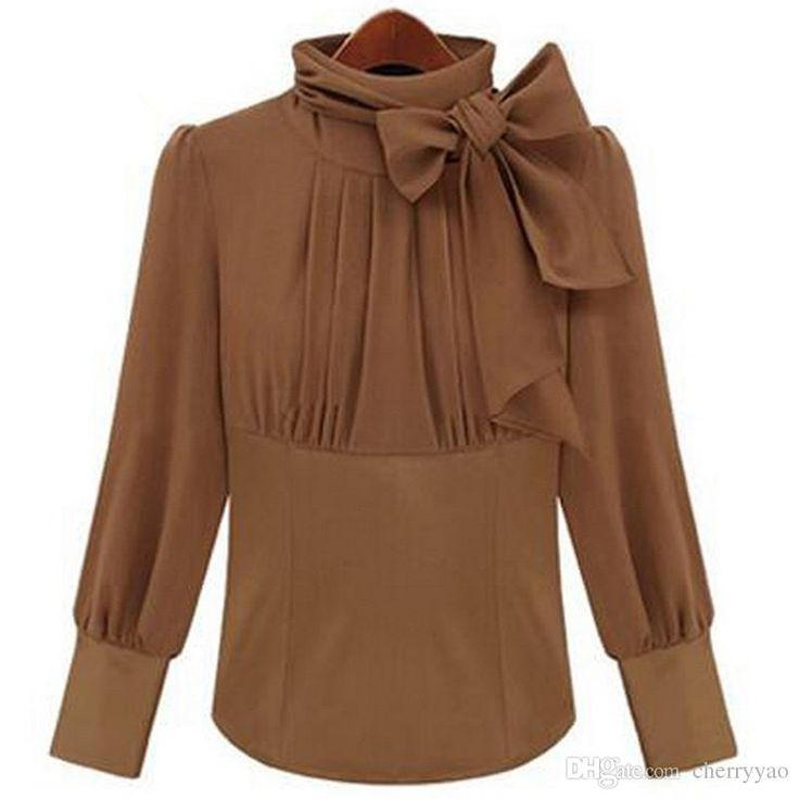 Wholesale cheap women blouses online, brand - Find best 2017 spring turtleneck with bowtie blouse for women camel color black s m l xl long sleeve office ladies workwear tops shirts at discount prices from Chinese women's blouses & shirts supplier - cherryyao on DHgate.com.