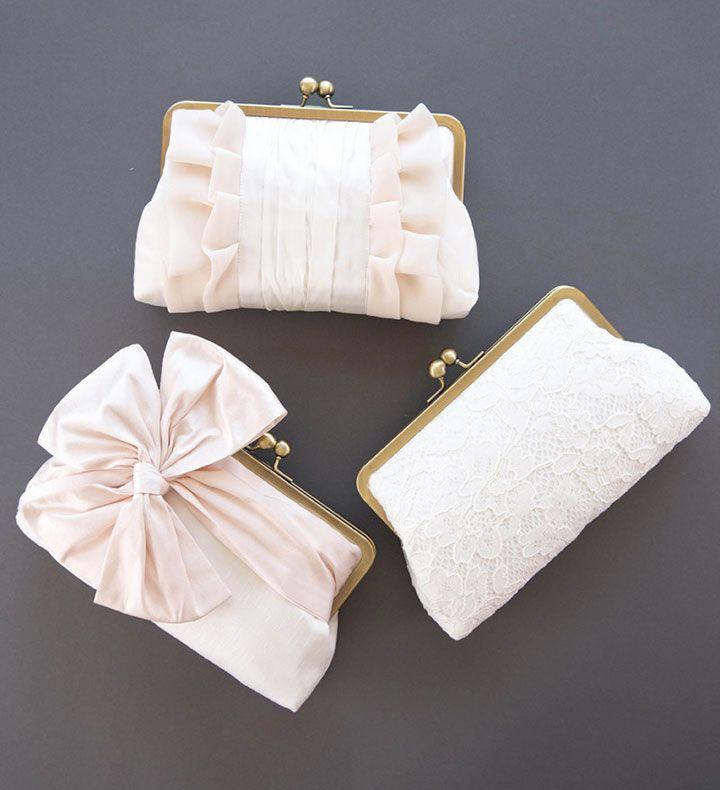 Blush  & Ivory Bridesmaid Clutch Set by Davie & Chiyo