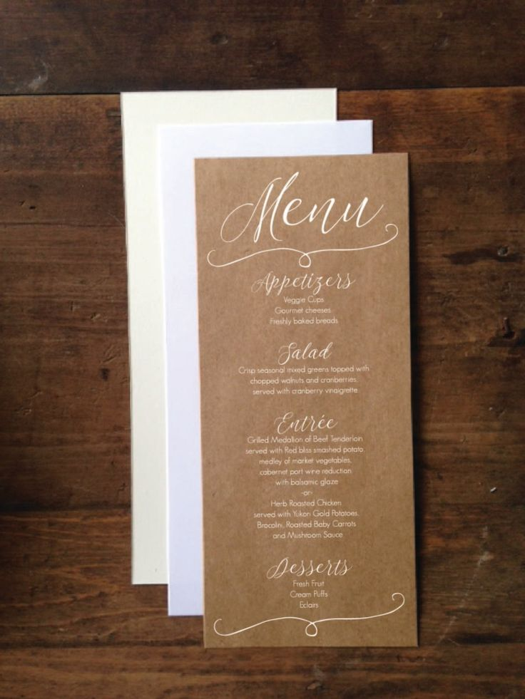"Wedding Menu Cards 4""x9"" - Rustic Wedding Menu Card - Simple & Elegant Wedding Menu -  White Ink Printed Wedding Menu by DetailsonDemand on Etsy"