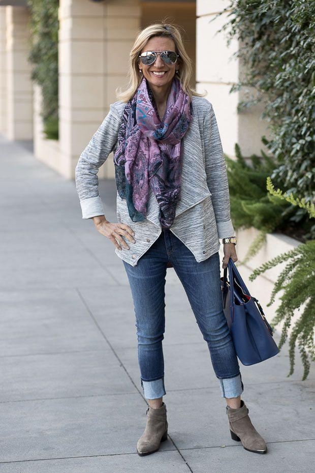 Check out my blog story featuring our Heather Gray Knit Jacket and Pink Turquoise Black Floral Paisley Scarf Shawl both available in our shop www.jacketsociety.com