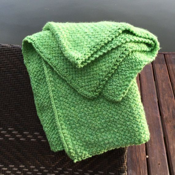 Hand knit throw.Lime green soft thick wool by evelynWpolitzerKnits $ 395