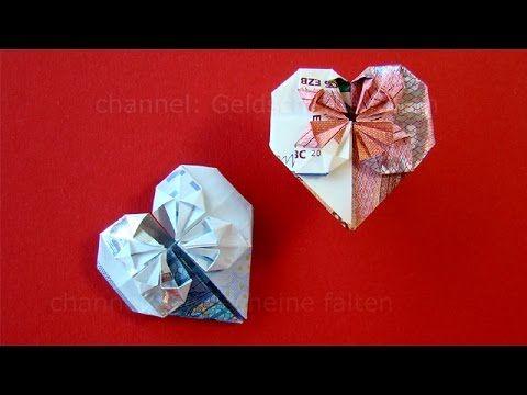 Geldscheine falten Herz: Geldgeschenke Hochzeit basteln - Geld falten Herz - DIY Origami Geschenk - YouTube