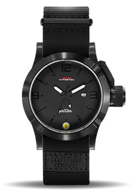 The MTM Black Hypertec is a stylish men's watch with Swiss-made quartz movement and 24-hour military time. Fully customizable to match your preferences.