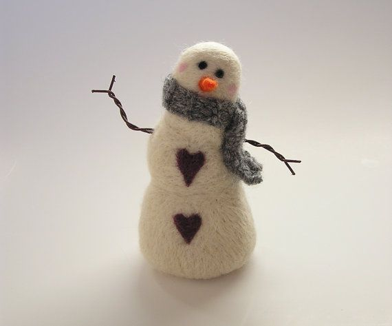 """Needle felted country snowman by Purple Moose Felting on Etsy. For tips, inspiration, and give-aways, """"Like"""" Us on Facebook at www.facebook.com/purplemoosefelting"""