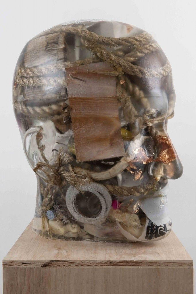 "Richard Dupont, ""Transformation Head "", 2010, polyurethane resin with studio and personal detritus, found objects, waste, 26″ x 16″ x 21″"