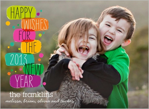 Happy Bright Wishes New Year's Card