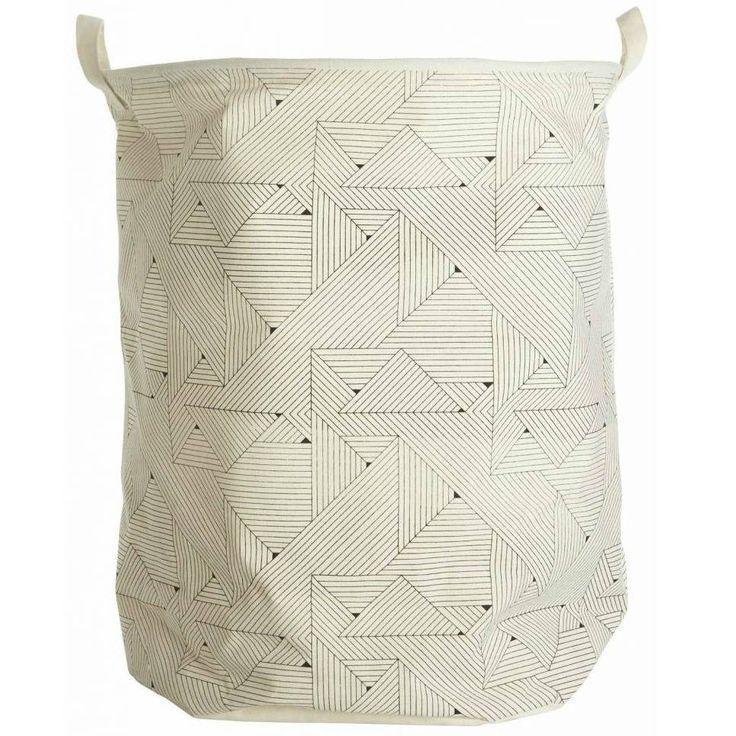 Housedoctor Wasmand 'Triangular' Ø40x50cm wit/zwart, katoen/polyester/rayon