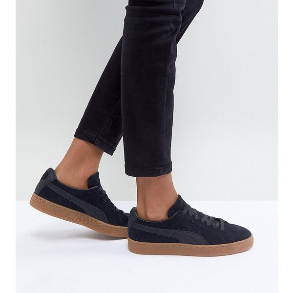 Puma Suede Classic Sneakers With Gum Sole In Black ($105) ❤ liked on Polyvore featuring shoes, sneakers, black, sports trainer, black suede shoes, sports shoes, lace up sneakers and suede shoes