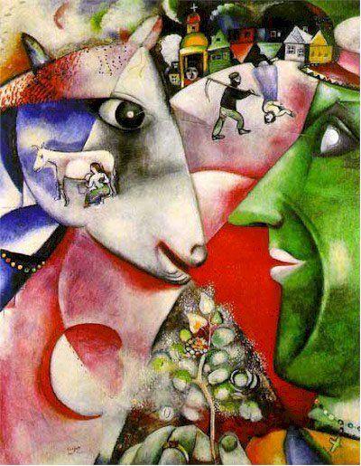 I and the Village  contiene elementos decorativos liberales, creando un paraíso pastoral ruso. La pintura presenta a una vaca que sueña  con una mujer que ordeña leche y una pareja trabajando en el campo. Chagall no esperaba que se analizará la imagen, sino que existiera un aire de decoración en ella. Museo de Arte Moderno en Nueva York.