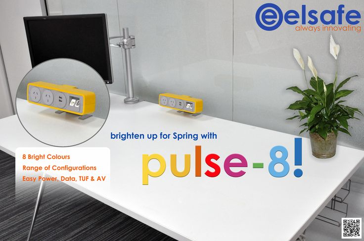 8 Bold Colours to Brighten up your Workspace for Spring! http://www.elsafe.com.au/pulse8-desktop-power-and-data.html