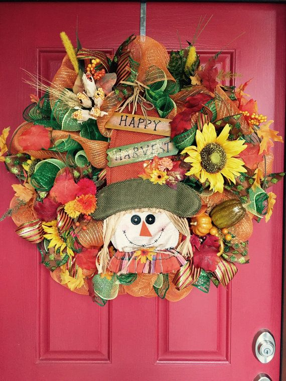 Fall Mesh Wreath Autumn Mesh Wreath Door by ProudToHangWreaths