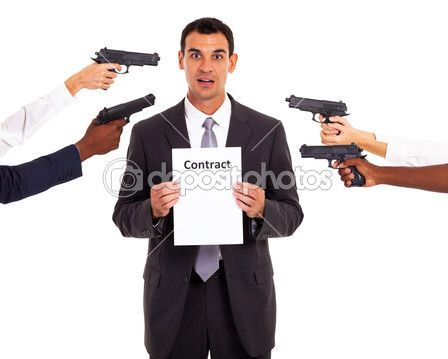 Another essential element of a contract is genuine asset. This means that all parties involved genuinely agree to the terms within the contract, This is broken if one party is under duress. Duress is a threat, usually harmful, if they do not sign the contract. An example would be the man in the picture being help at gunpoint to sign the contract.