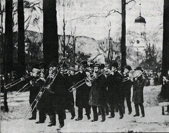 1896—Bethlehem, Pennsylvania: A painting by Alice Barber Stephens depicts the Bethlehem Moravian trombone choir at an Easter Dawn service. A bass trombone with extension handle is clearly shown in the front row. The tower of the Central Moravian Church, from which the trombone choir frequently performs, can be seen in the background (see above image; public domain) (Sweitzer 8).
