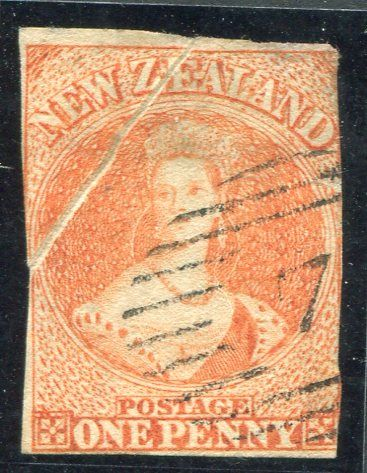Stamps - Errors #327207 NZ Chalon Error 1d dull orange SG8 imperf no wmk paper, Richardson's printing used example with major pre printing crease across corner top left, hinge thin at top, tiny nick to be accurate,fine colour, crisp Perkins 7 oblit, seldom seen Error on 1d Richardson's value, Cat normal $2000+ ...