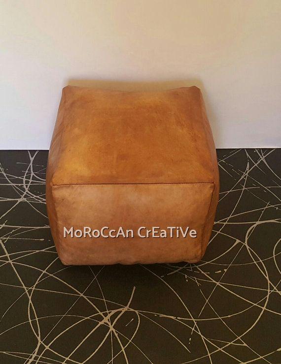 Moroccan Leather PoufLight Tan Square Moroccan by MoroccanCreative