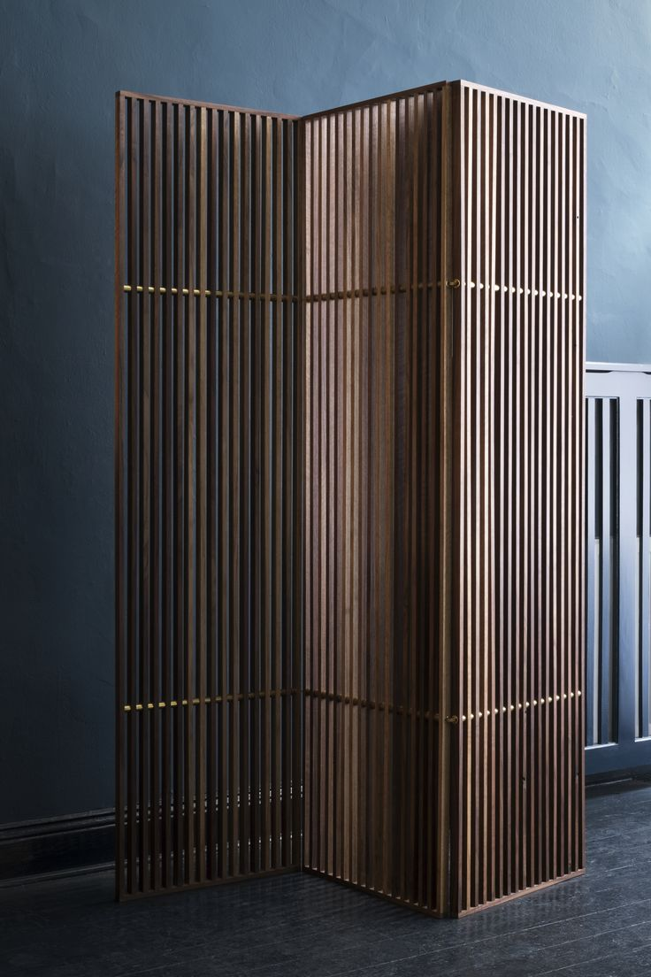 The Space divider is a three part foldable piece in walnut and brass. It divides rooms or spaces but still let light shine through and allows contact between areas. The design is inspired by Japanes aesthetics mixed with an international luxury. Depending on its position it creates different visual expressions.