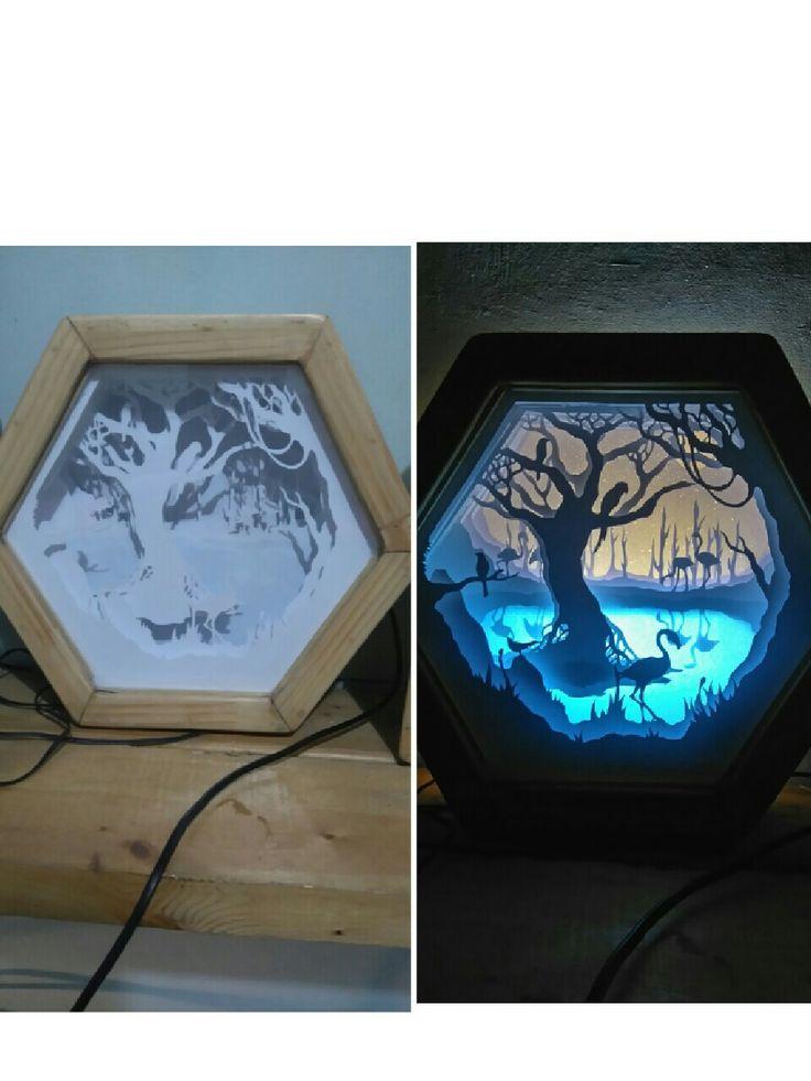 Dream lake (handpapercutshadowboxlight) #handpapercut #papercut #shadowboxlight #shadowbox #paperart #papercut #dreamlake