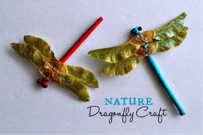 Nature Dragonfly Craft--Create these cute dragonflies from maple seeds, twigs and some basic craft supplies. @iheartcrafty