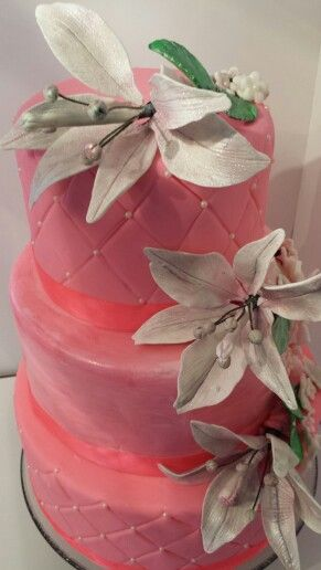 Diamonds and Pearls-Fondant and Lilies