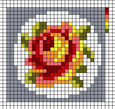 Miniature rose cross stitch chart / cross stitch pattern - but may also be used for: crochet, knitting motifs, knotting, loom beading, Perler beading, weaving and tapestry design, pixel art, micro macrame, friendship bracelets, and anything involving the use of a charted pattern.